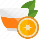 fruits, herbal, orange, tea icon