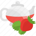 fruits, herbal, strawberry, tea icon