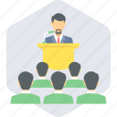 conference, meeting, podium, speaker, speech icon