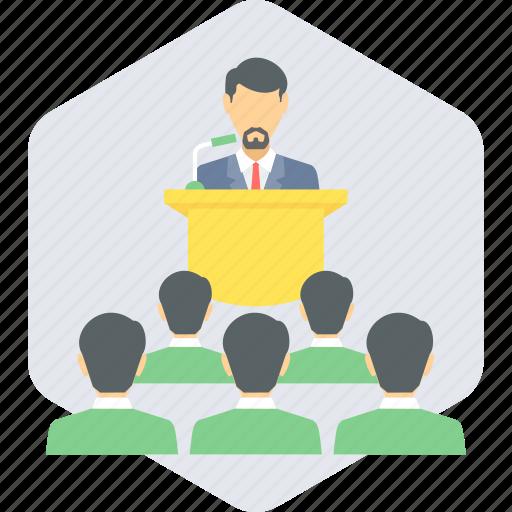 conference, meeting, podium, speaker, speech icon