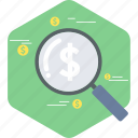 business, finance, investment, magnifier, market, money, search icon