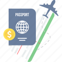 business, card, identity, international, money, passport, travel icon
