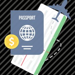 business, card, identity, international, money, passport, travel icon