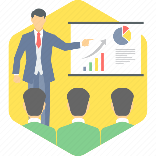 analysis, board, chart, explaination, meeting, presentation, report icon