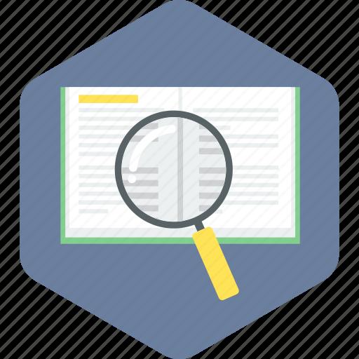 book, explore, magnifier, optimization, search, text, zoom icon