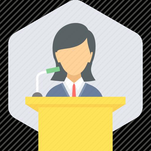 communication, conversation, lecture, message, podium, speak, speech icon