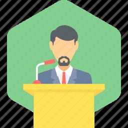 communication, conversation, lecture, message, podium, speech icon