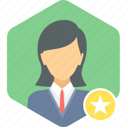 avatar, best, employee, favorite, female, profile, star icon