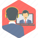 call, chat, communication, conversation, video, video call, video conference icon