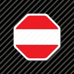 austria, euro cup, flag, football, france, hexagonal, sticker icon