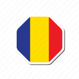 euro, flag, football, france, romania euro cup, sticker icon