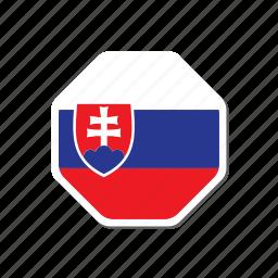 euro cup, flag, football, france, hexagonal, slovakia, sticker icon