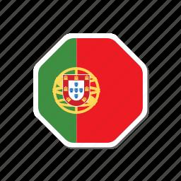 euro, euro cup, flag, france, hexagonal, portugal, sticker icon