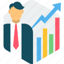 analysis, analytics, bar, career, counselling, growth, success icon