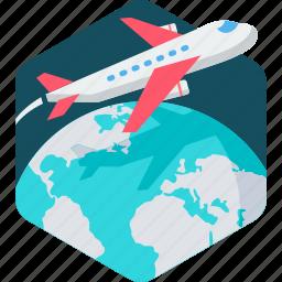 aeroplane, airplane, aviation, business, flight, plane, tour icon