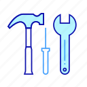 hammer, hydropower, power, tool, wrench icon