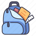 backpack, bag, education, school, student icon