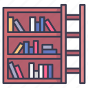 book, bookshelf, education, knowledge, library, school, university icon