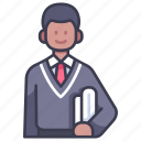 college, education, male, people, school, student icon