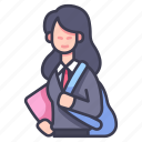 college, education, female, people, school, student icon