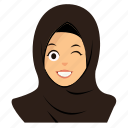 girl, happy, hijab, wink icon
