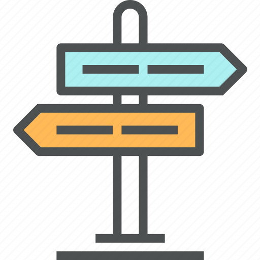 direction, directional, navigation, pointer, road, signboard, signpost icon