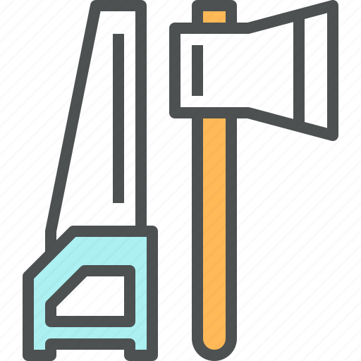 axe, carpentry, construction, instrument, repair, saw, tool icon