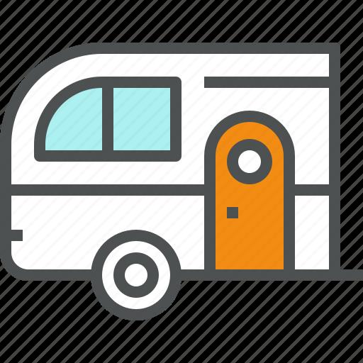 camp, camper, car, trailer, transport, travel, wagon icon