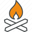 camp, campfire, fire, fireplace, flame, place, wood icon
