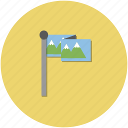 adventure, circle, flag, hiking, nature, outdoors, yellow icon
