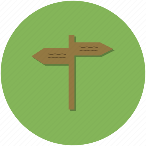 adventure, circle, green, hiking, outdoors, signpost, walking icon