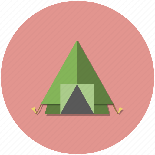 adventure, camping, circle, hiking, outdoors, red, tent icon