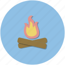 adventure, blue, campfire, circle, hiking, outdoors, roundel icon