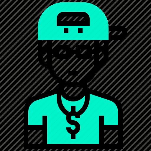 avatar, boy, gangster, hip, hop, rapper icon