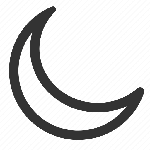 crescent, moon, night, outline icon