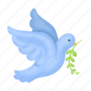 animal, beak, bird, branch, freedom, pigeon icon