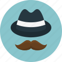 accessories, hat, hipster, man, men, mustache icon