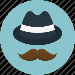 accessories, hat, hipster, man, men, mustache icon