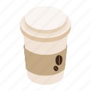 coffee, cup, isometric, long, mug, paper, takeaway icon