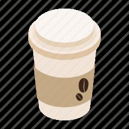 coffee, cup, isometric, long, mug, paper, takeaway icon