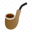 isometric, old, pipe, retro, search, smoke, vintage icon