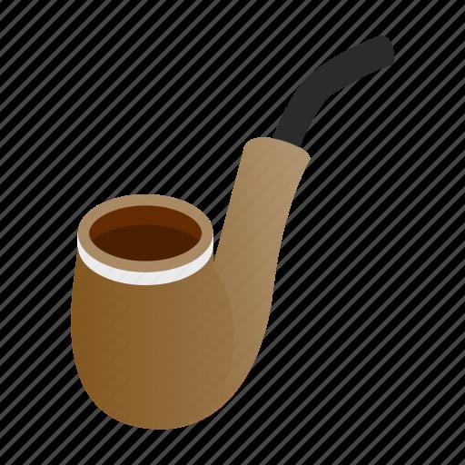 isometric, old, pipe, retro, search, smoke, vintage icon