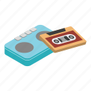 stereo, boombox, isometric, player, music, retro, tape