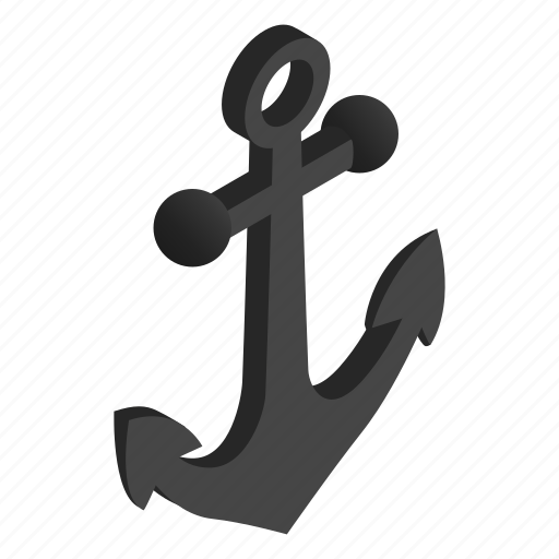 anchor, equipment, isometric, marine, nautical, object, silhouette icon