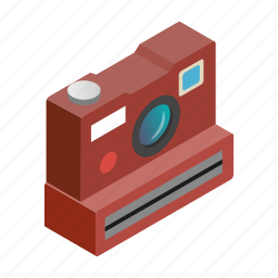 camera, flash, isometric, photo, photography, polaroid, white icon