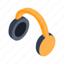 gadget, headphone, isometric, music, sound, stereo, technology icon