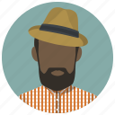 beard, hat, hipster, man, people, style, user icon