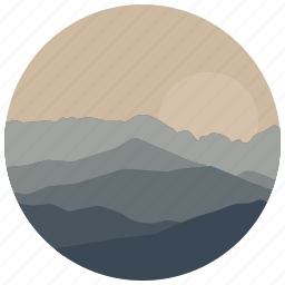 landscape, mountains, nature, scenery, sunrise, sunset, view icon