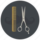 barber, barbershop, comb, cut, hair, hairdresser, scissors icon