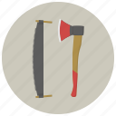 axe, carpenter, gears, saw, tools, wood, woodcutter icon